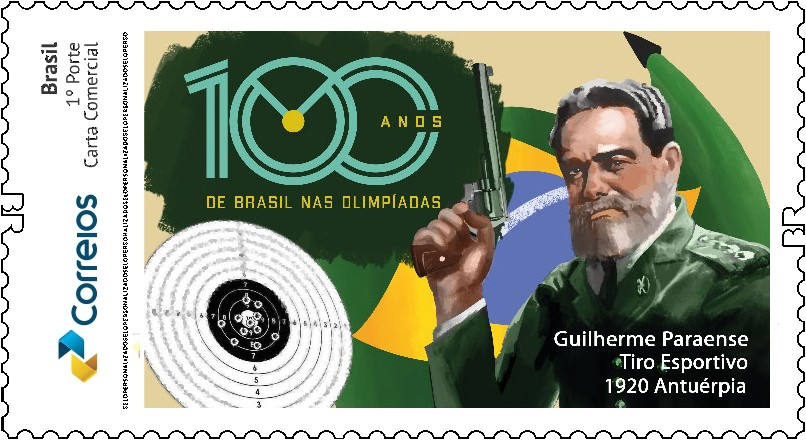 Edição comemorativa do selo dos correios em homenagem ao centenário da conquista da medalha de ouro pelo Brasil em jogos Olímpicos.